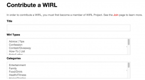 Contribute a WIRL Part 1