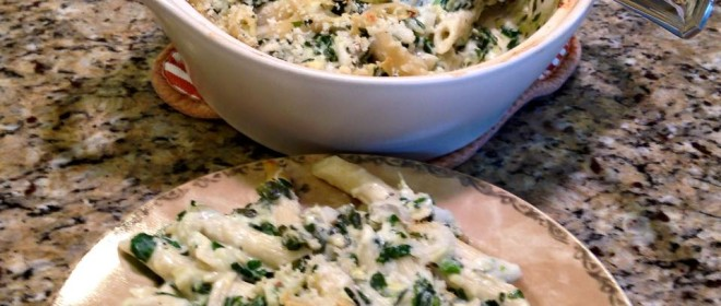 Spinach & Artichoke Baked Pasta .. perfect for Ash Wednesday and Meatless Mondays!