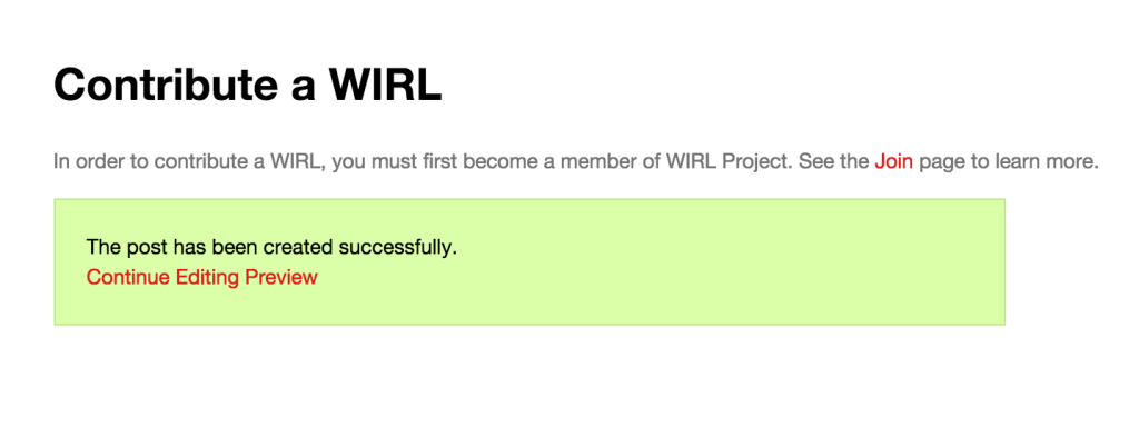 Successful WIRL Submission