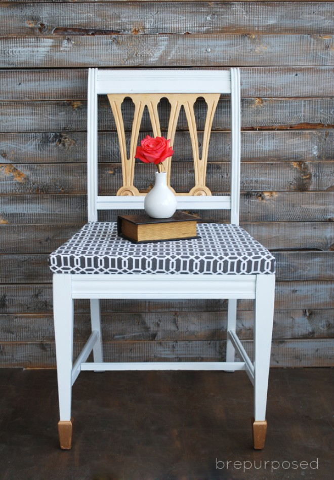 White, Gold and Grey Chair Makeover
